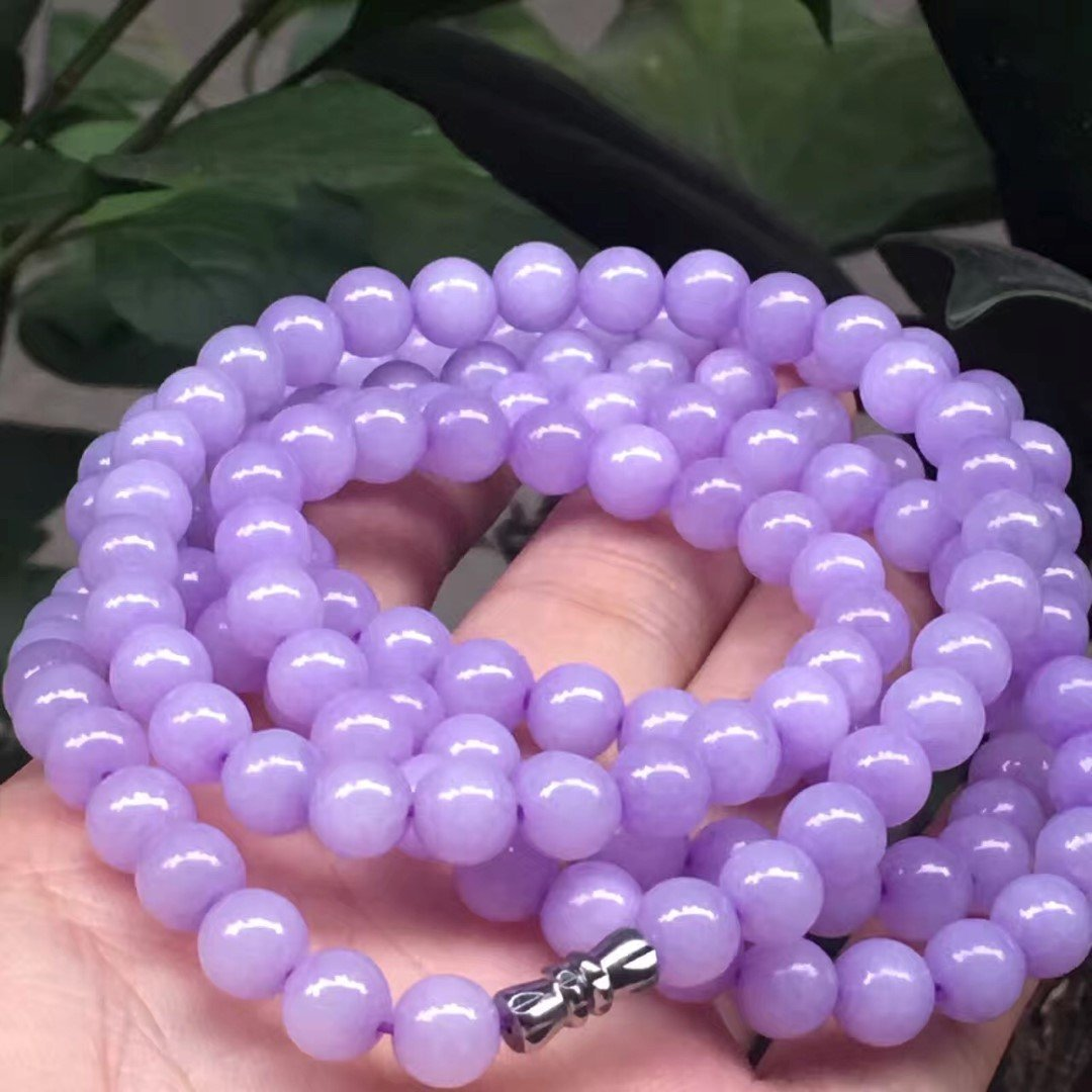 Natural Grade A Purple Jadeite Bead Necklace