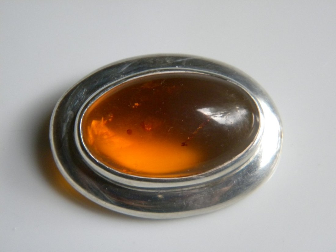 Vintage Amber Silver Brooch Pin, marked 925