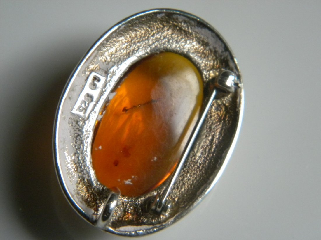 Vintage Amber Silver Brooch Pin, marked 925 - 2