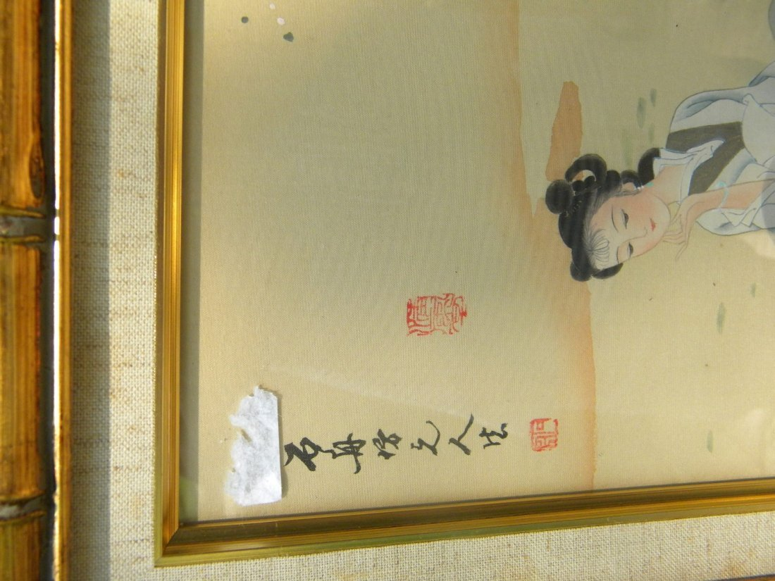 Vintage Chinese Beauty Painting Framed - 2