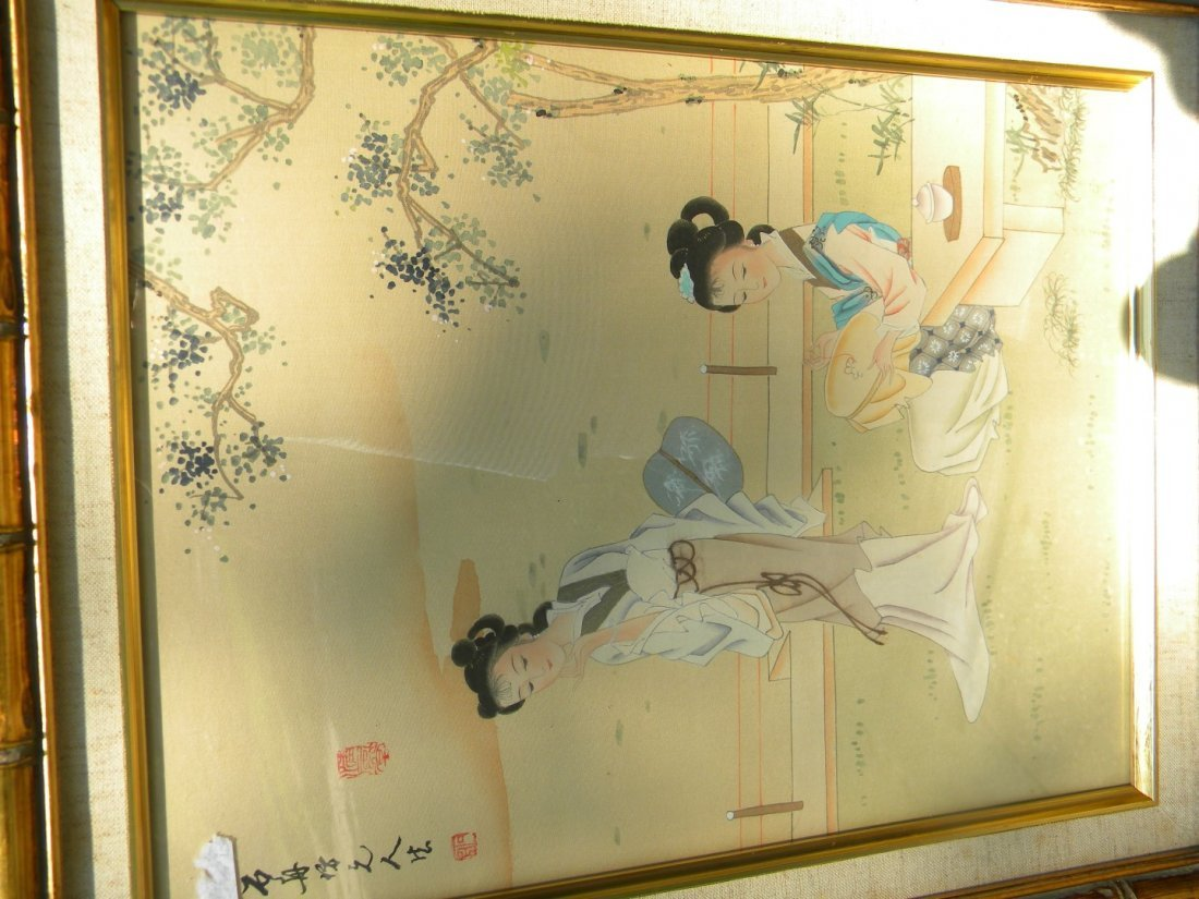 Vintage Chinese Beauty Painting Framed - 3