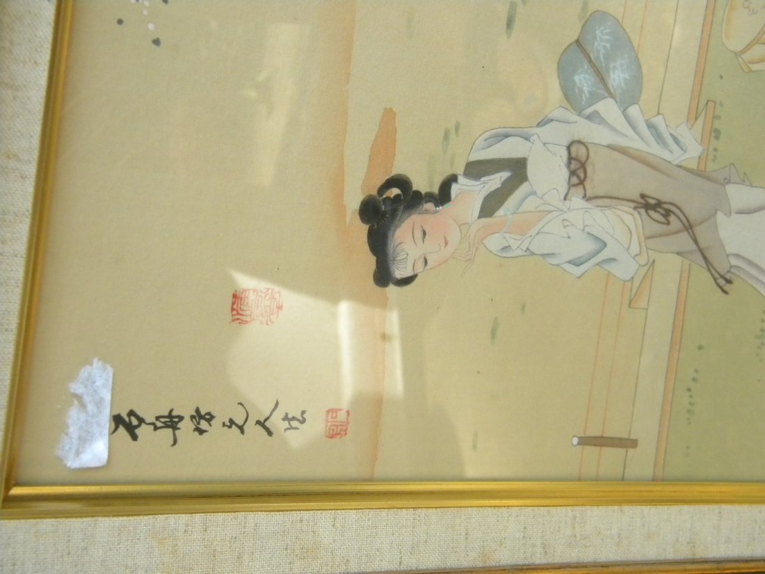 Vintage Chinese Beauty Painting Framed - 4