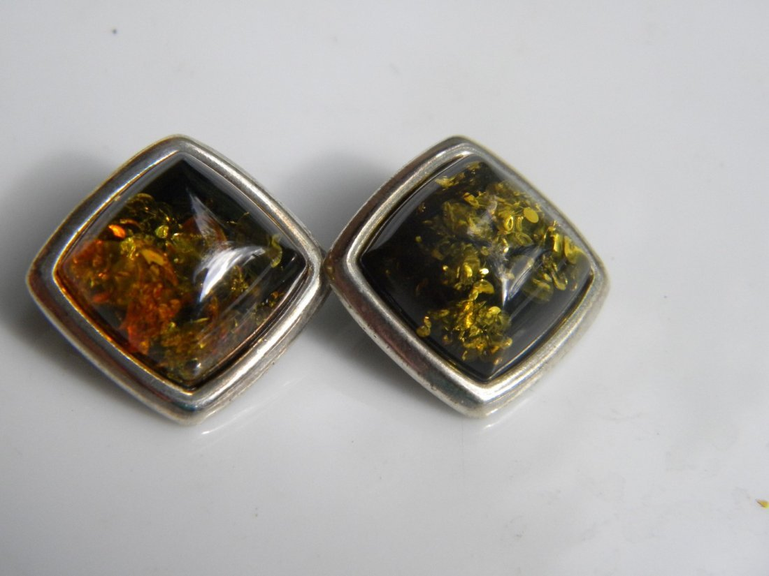Pair of Natural Baltic Amber Silver Earrings