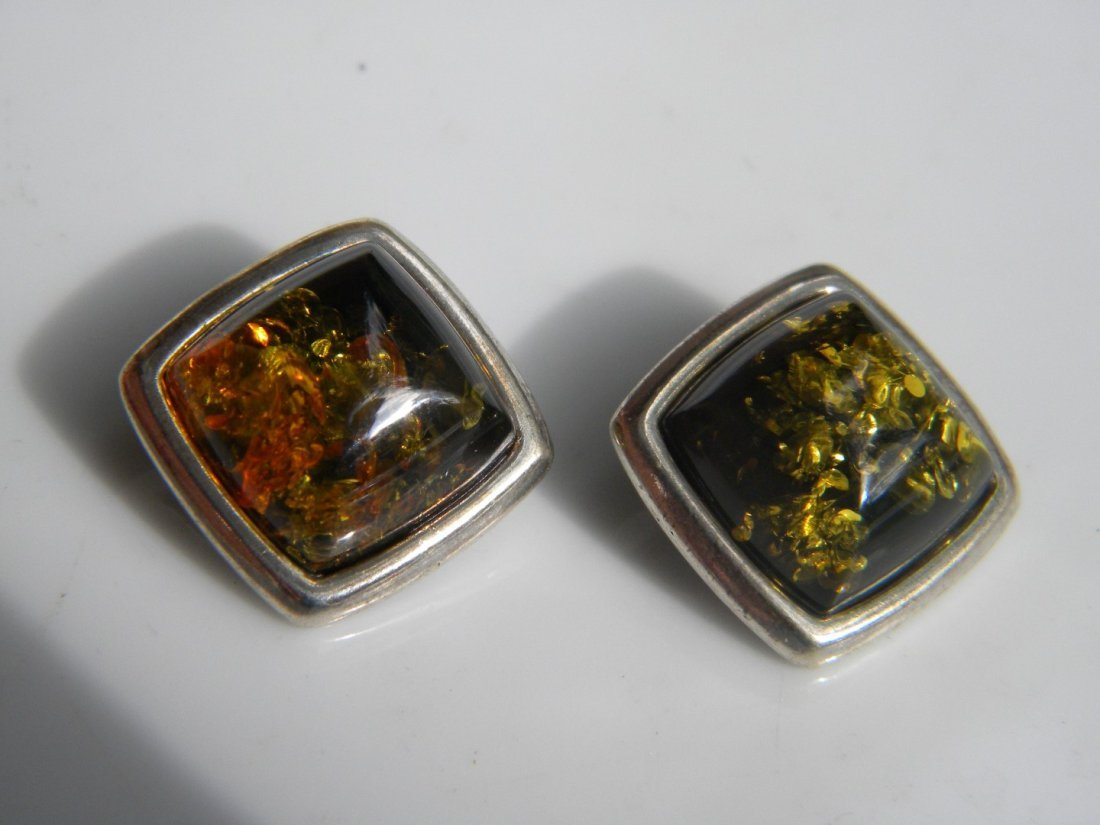 Pair of Natural Baltic Amber Silver Earrings - 2