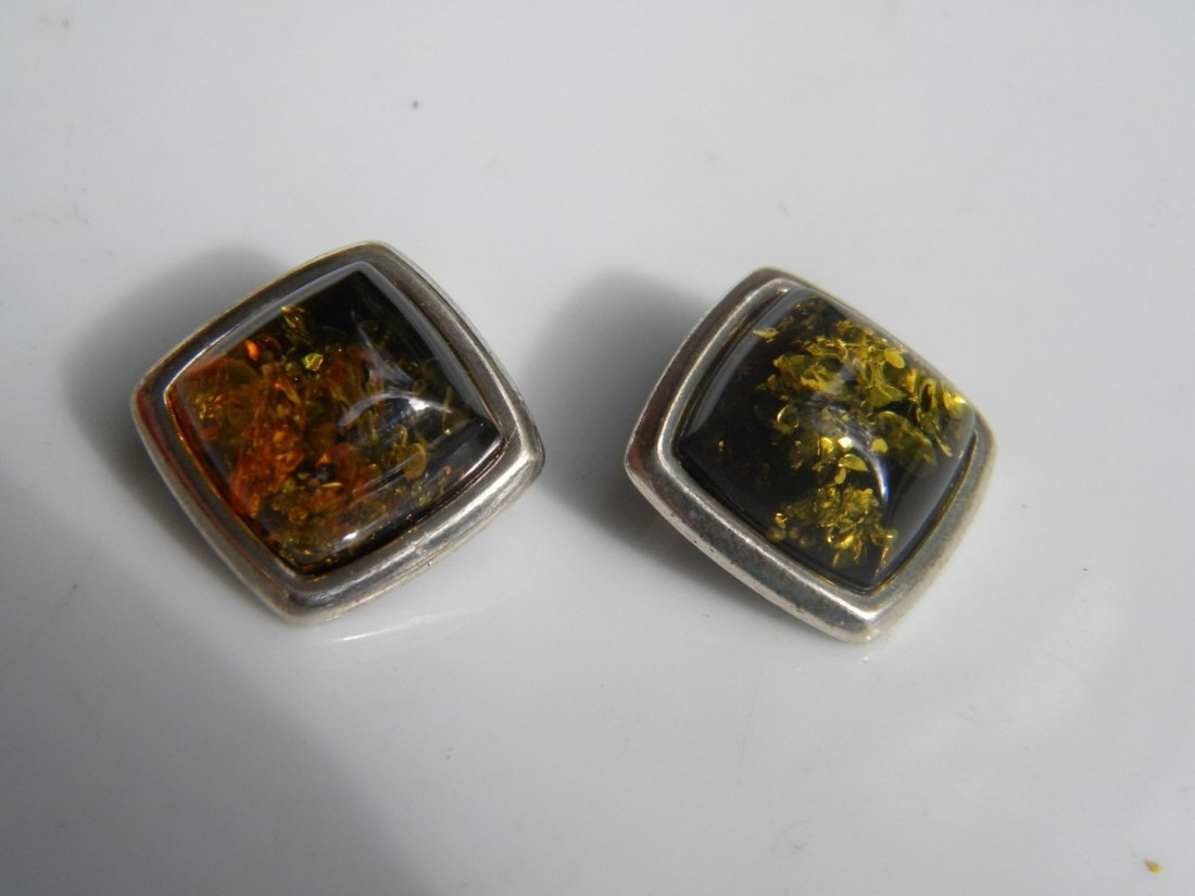Pair of Natural Baltic Amber Silver Earrings - 4