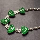 18K Gold Diamond Natural Green Jadeite Bracelet