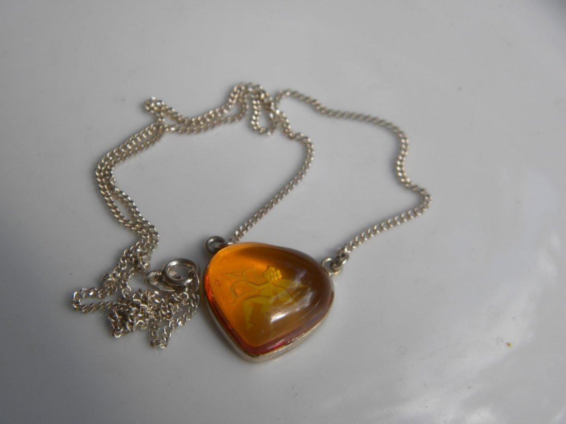 Natural Baltic Amber Silver Heart Shape Pendant