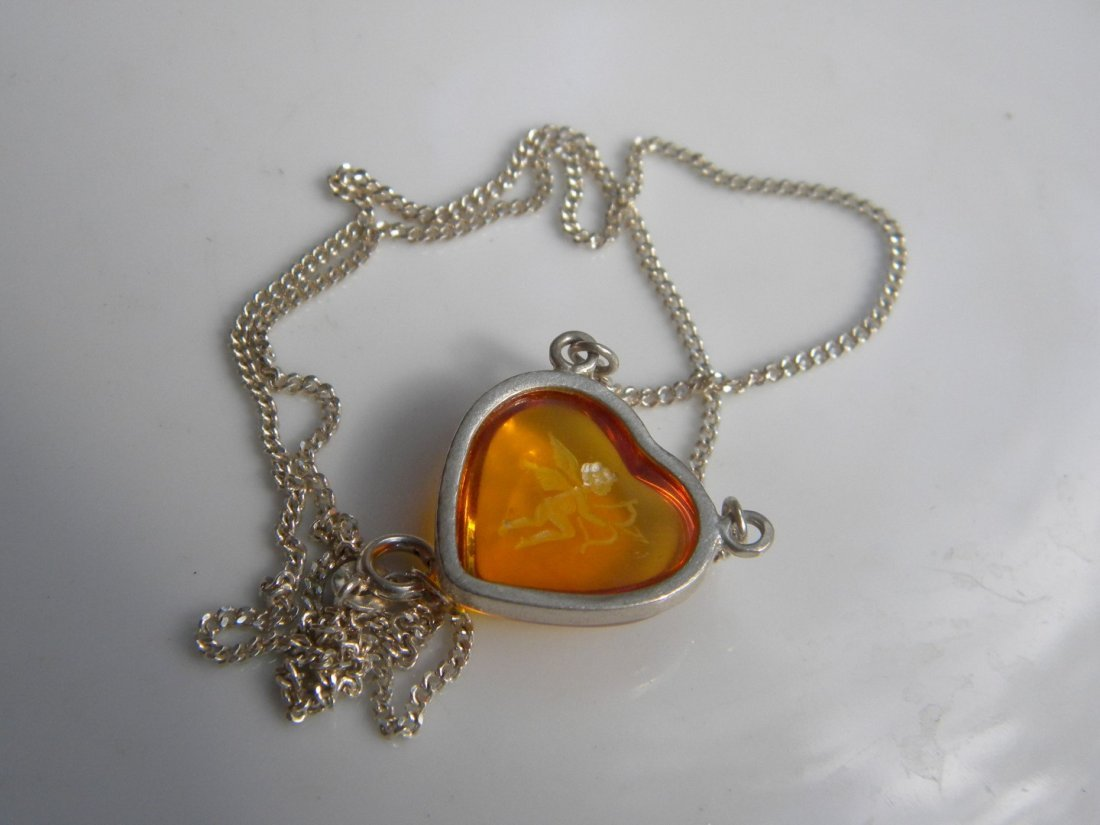 Natural Baltic Amber Silver Heart Shape Pendant - 2