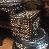 Antique Chinese rosewood mother of pearl makeup chest