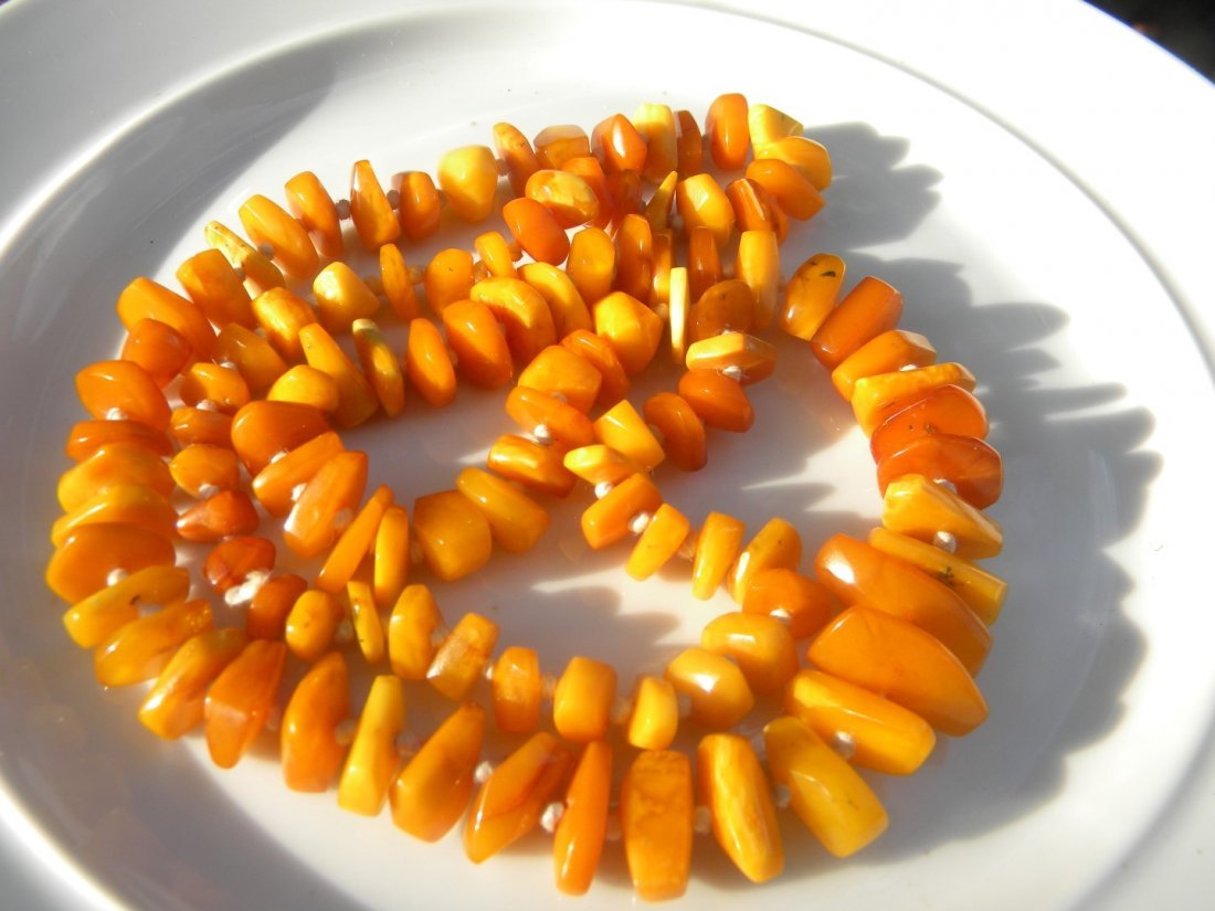 Antiue Baltic Butter Scotch Amber Necklace - 3