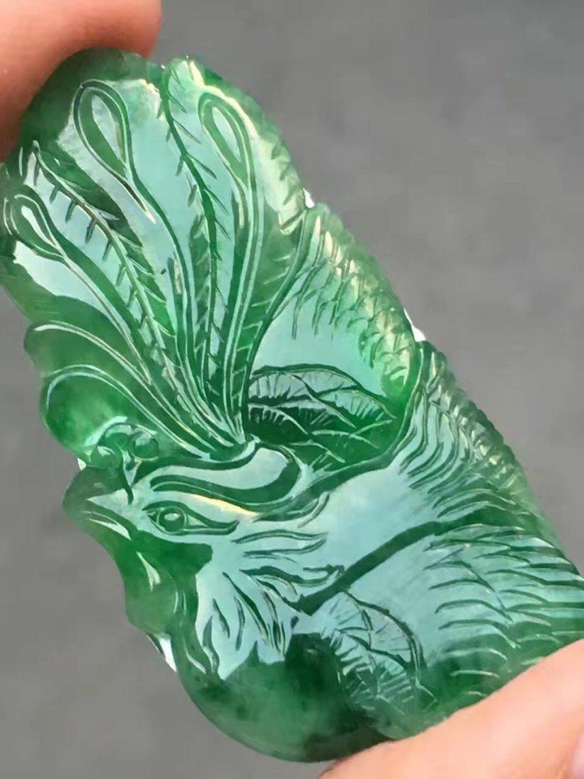 Natural Green Jadeite Pheonix Pendant - 2