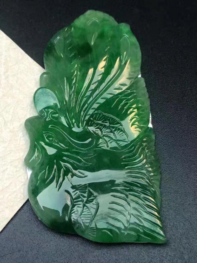 Natural Green Jadeite Pheonix Pendant - 4