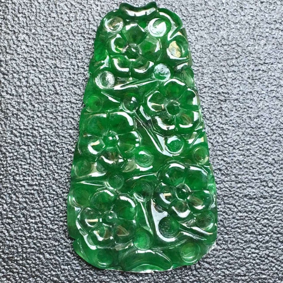 Natural Green Jadeite Flower Pendant - 4