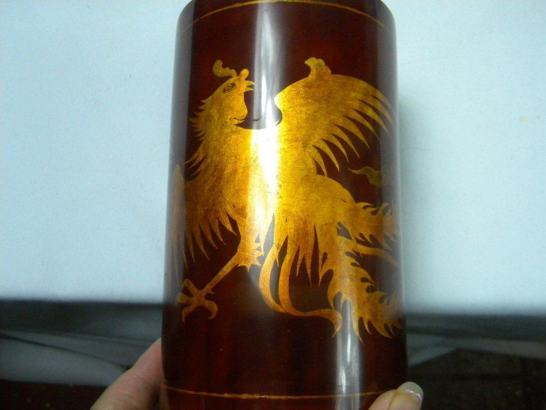 Vintage Laqcuer Phoenix Brush Holder