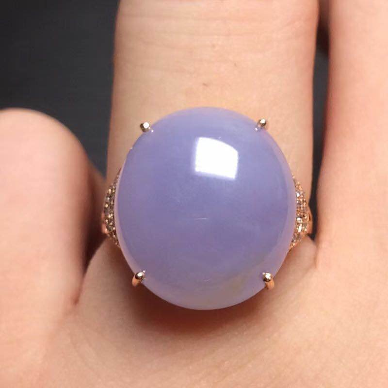 18K Gold Purple Jadeite Ring