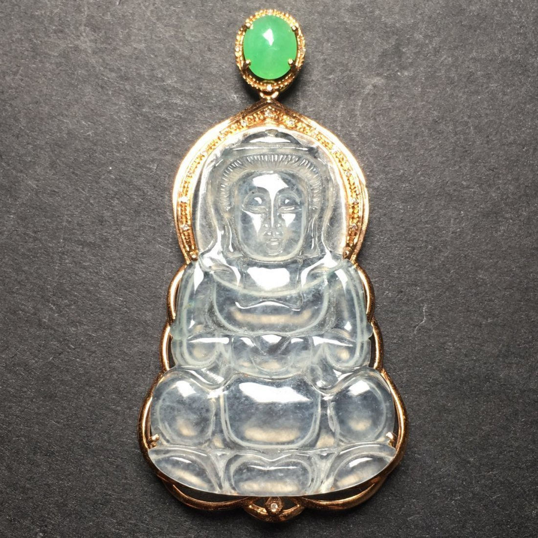 18K Gold Diamond White Jadeite Guanyin Pendant