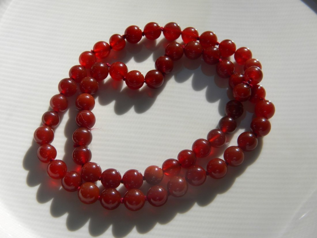 Antique Chinese Red Carnelian Bead Necklace - 2