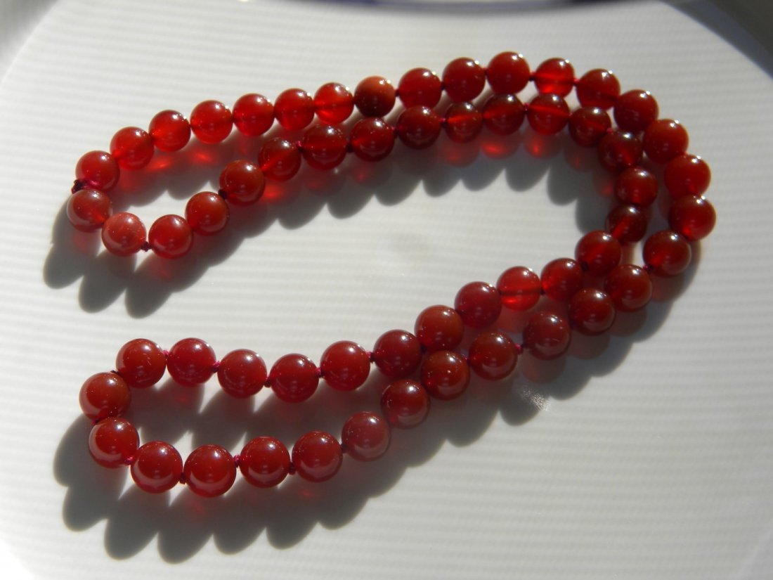 Antique Chinese Red Carnelian Bead Necklace - 3