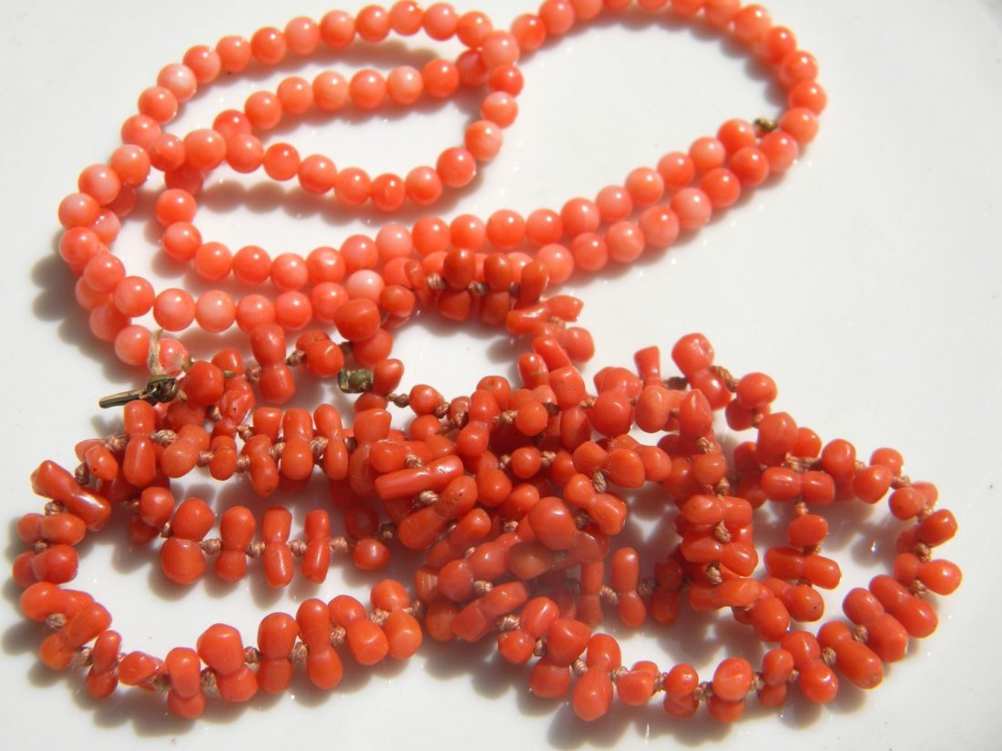 Two Natural Coral Necklaces