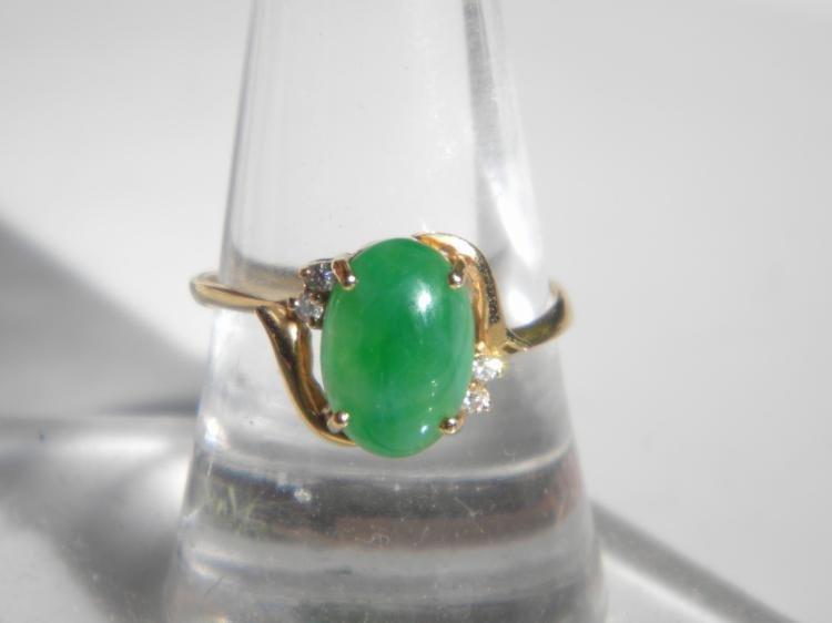 18K Gold Diamond Natural Green Jadeite Ring