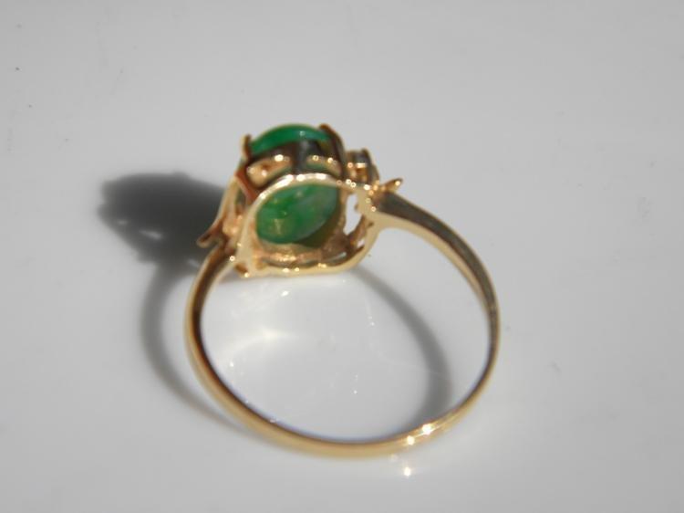 18K Gold Diamond Natural Green Jadeite Ring - 2