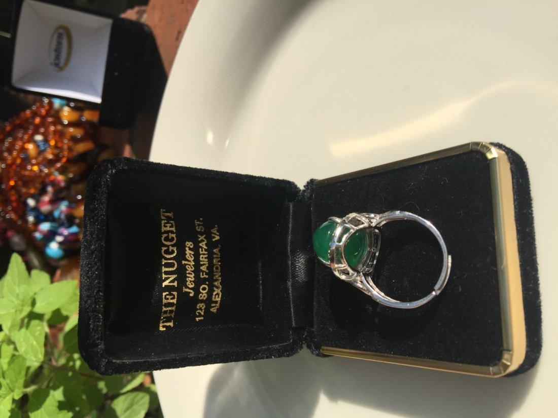 Vintage Green Stone Ring - 4