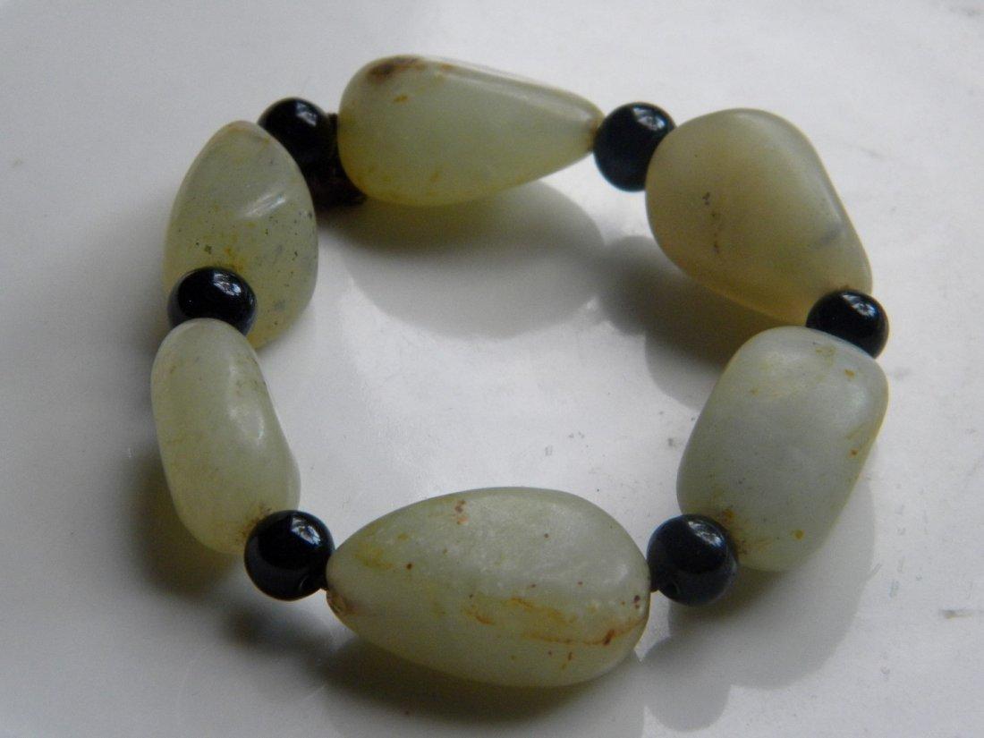 Antique Chinese Jade Pebble Bracelet