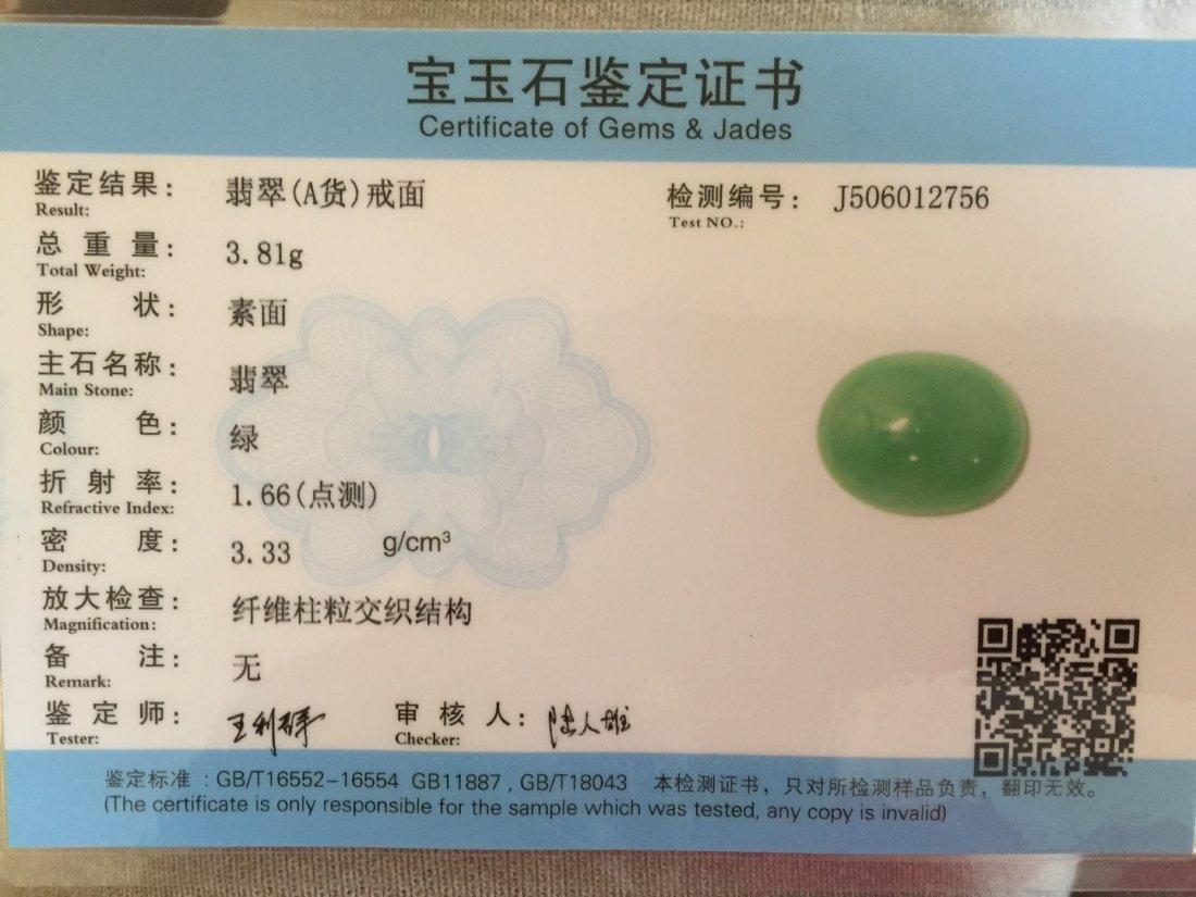 Natural Grade A Icy Green Jadeite Ring - 5