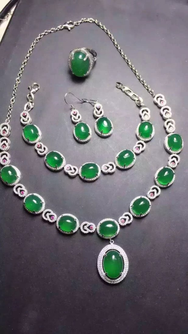 Set of Silver Green Stone Ring, Earrings and Bracelet - 3