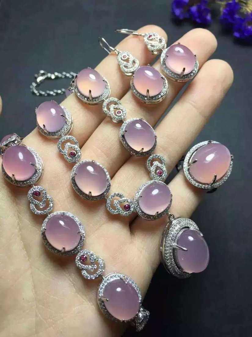 Set of Silver Purple Stone Ring, Earrings and Bracelet,