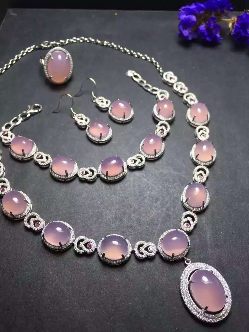 Set of Silver Purple Stone Ring, Earrings and Bracelet, - 2