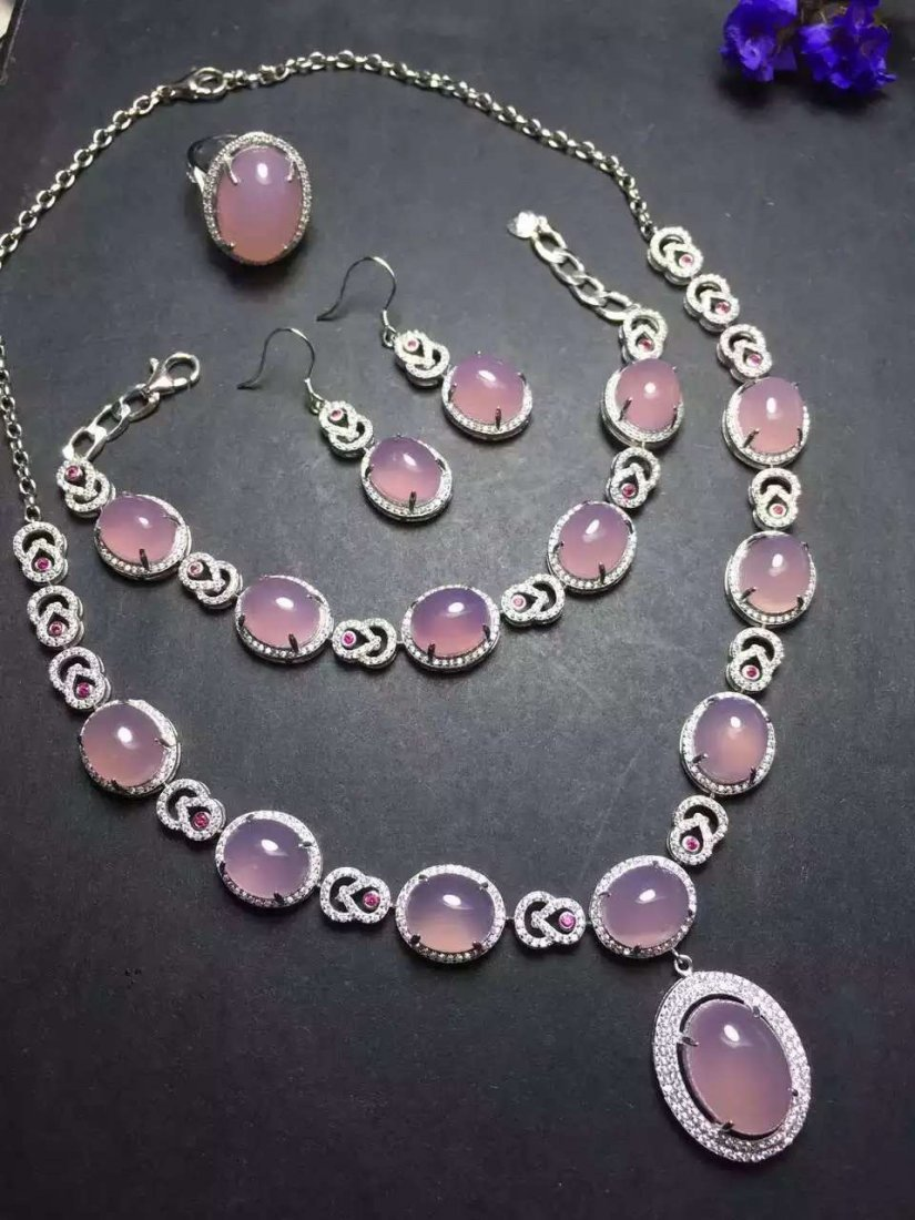 Set of Silver Purple Stone Ring, Earrings and Bracelet, - 4