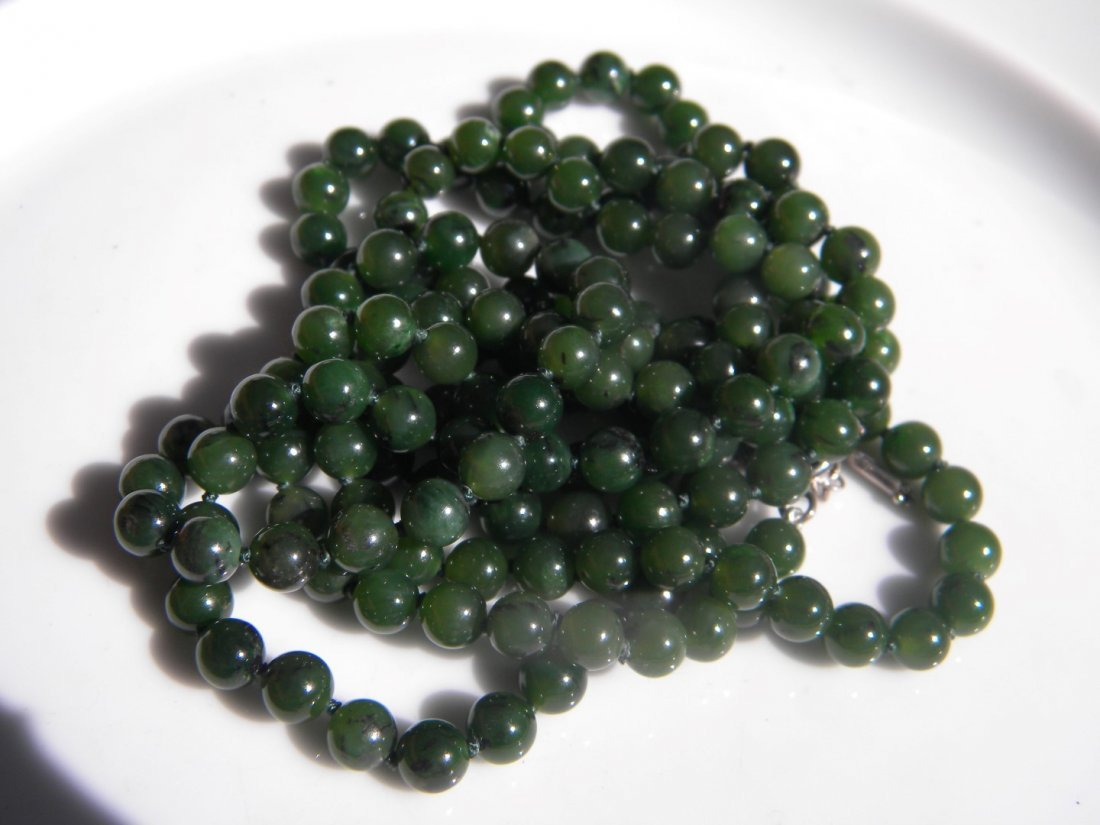 Natural Green Nephrite Jade Necklace - 2