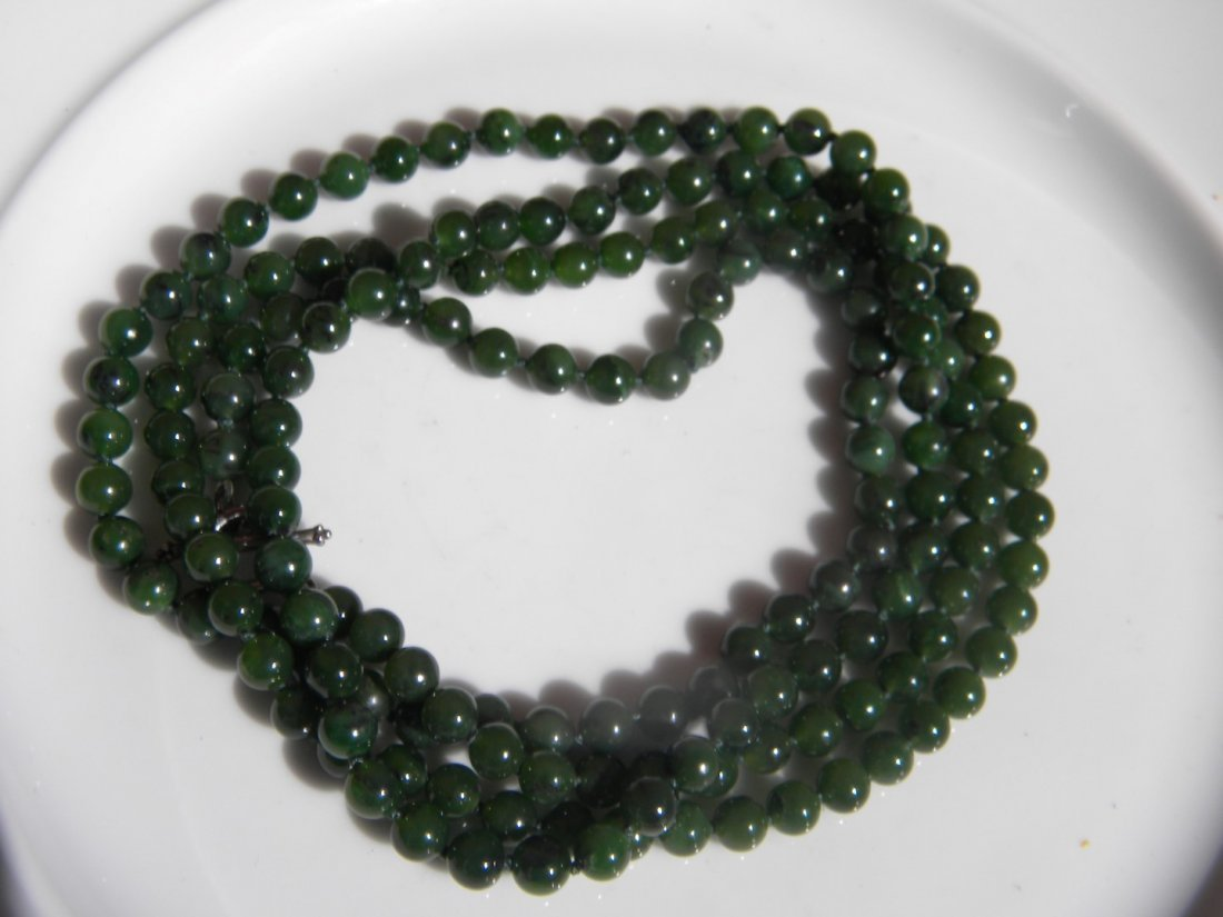 Natural Green Nephrite Jade Necklace - 3