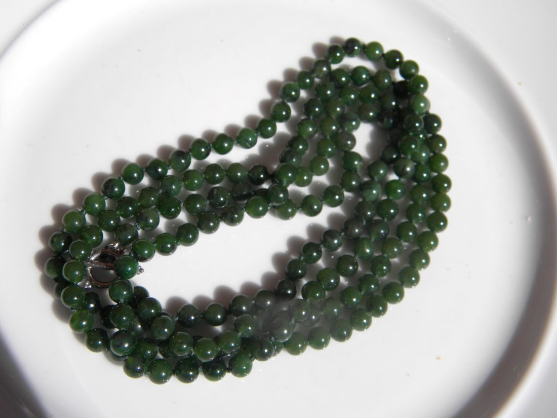 Natural Green Nephrite Jade Necklace - 4