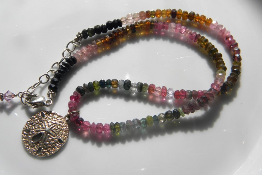Natural Tourmaline Necklace with Silver Pendant