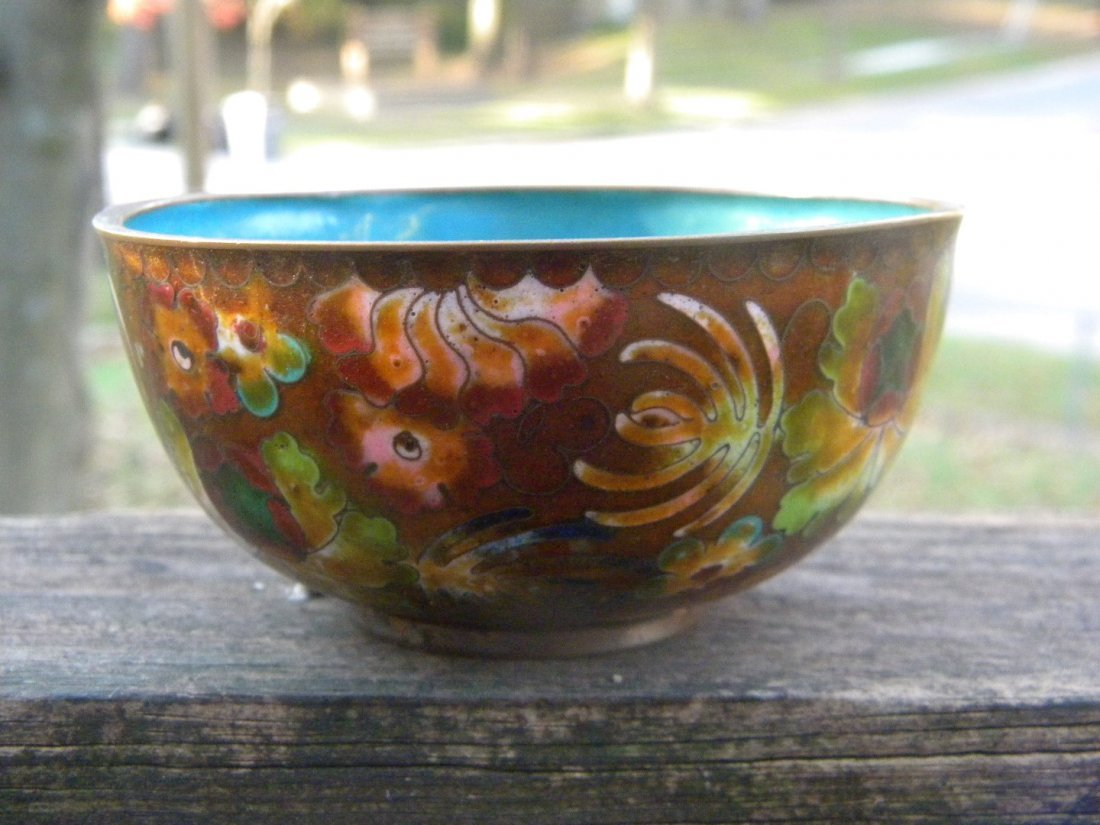Antique Chinese Cloisonne Bowl Marked China