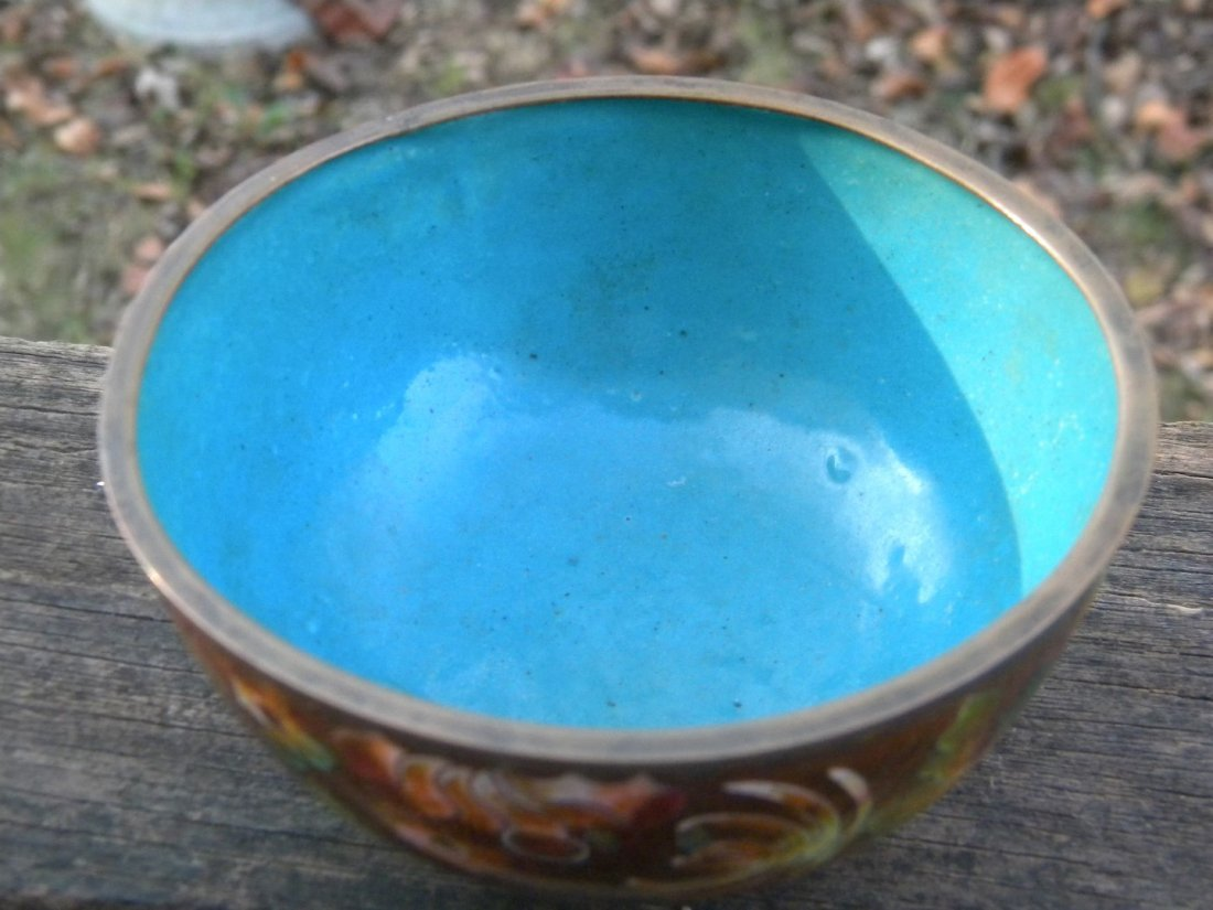 Antique Chinese Cloisonne Bowl Marked China - 2