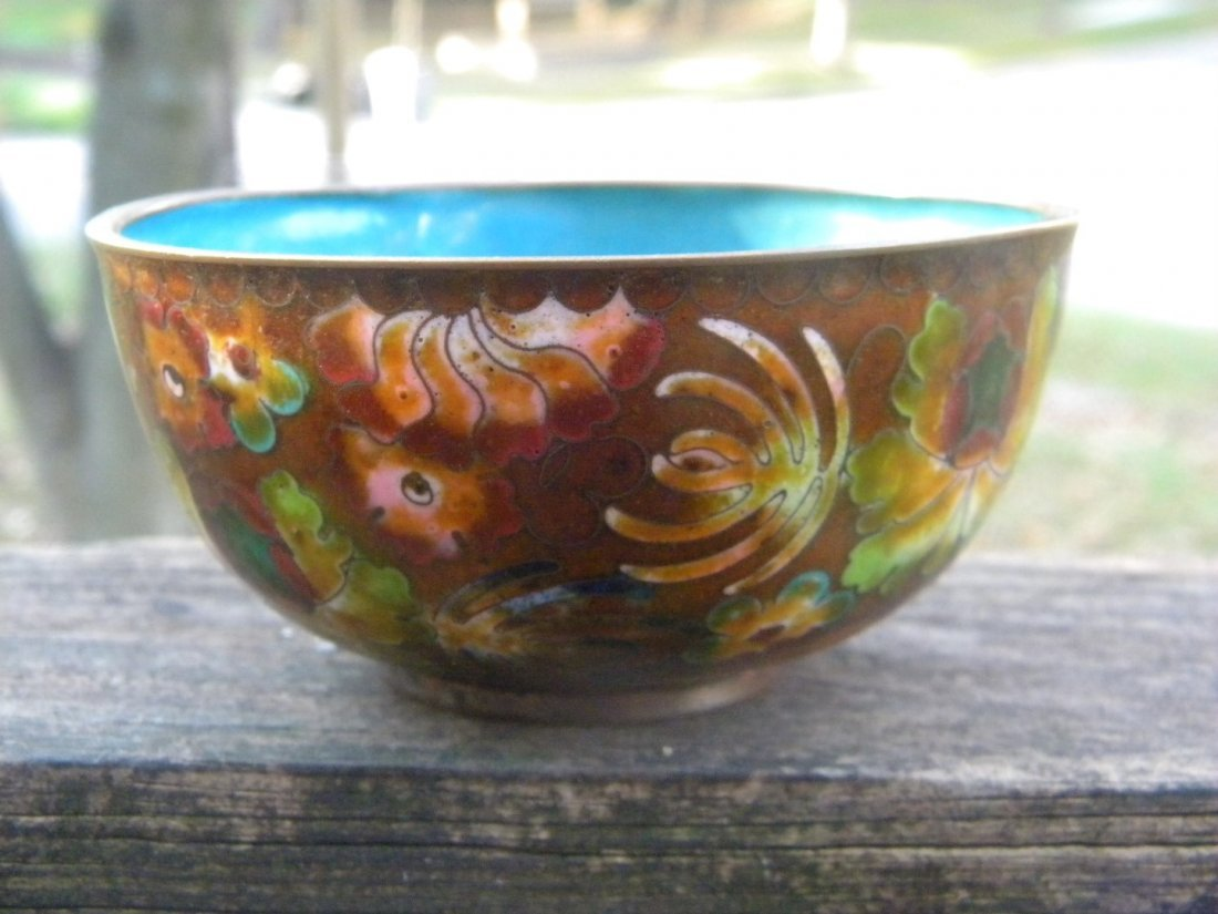 Antique Chinese Cloisonne Bowl Marked China - 3