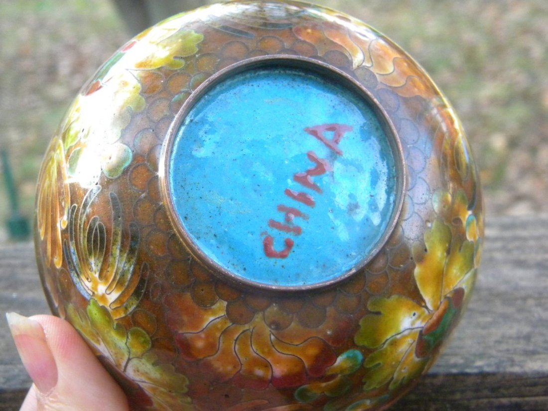 Antique Chinese Cloisonne Bowl Marked China - 4