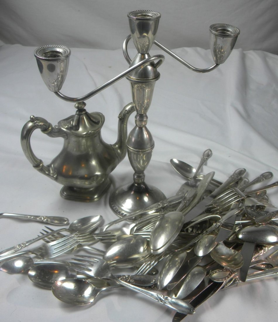 Group of Sterling Candle Holder, Teapot and Spoons, etc