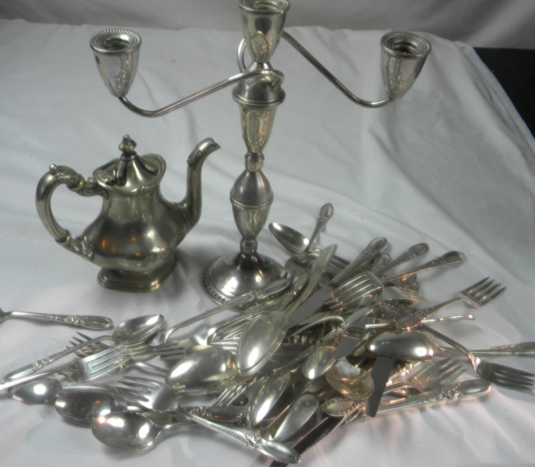 Group of Sterling Candle Holder, Teapot and Spoons, etc - 2