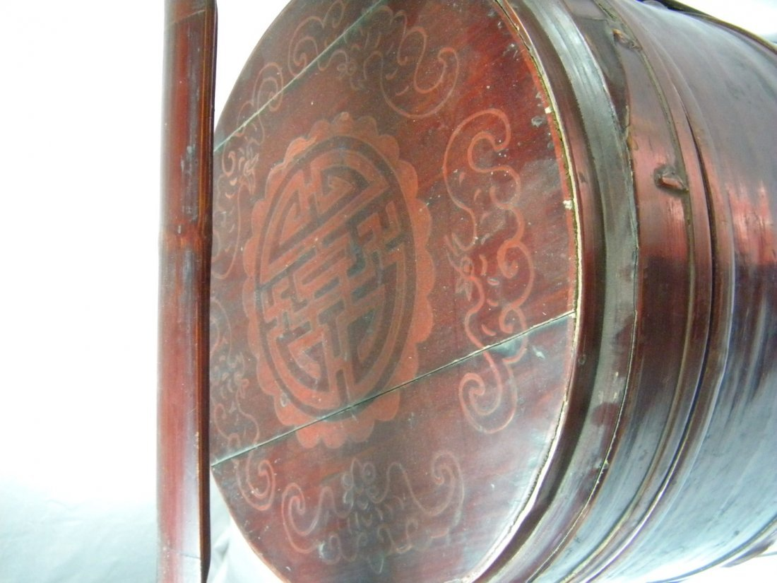 Antique Chinese Bamboo Food Carrier Lucky Box - 2