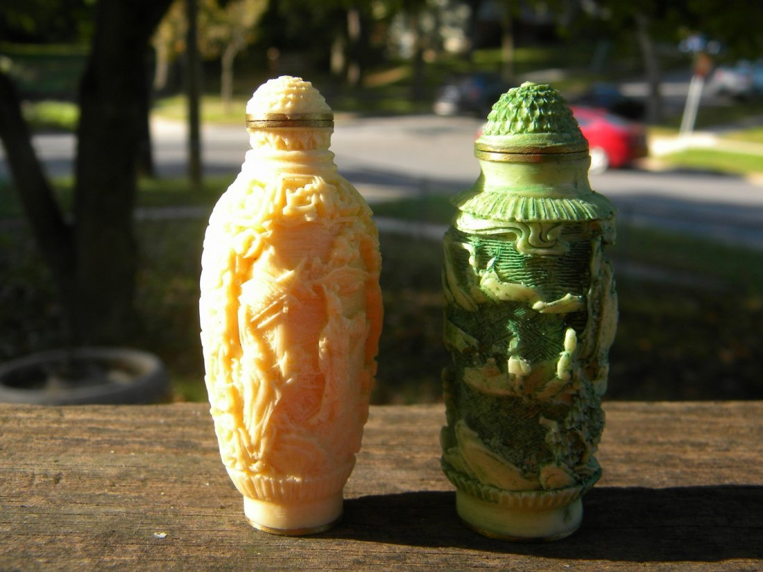 Two Chinese Antique Carved Snuff Bottle Marked Qianlong - 4