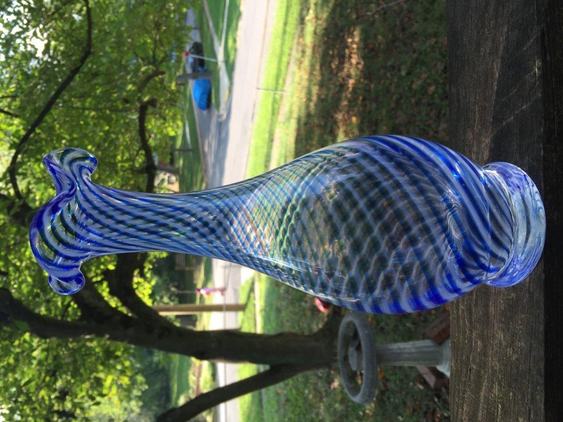 Vintage Blue Glass Vase - 3