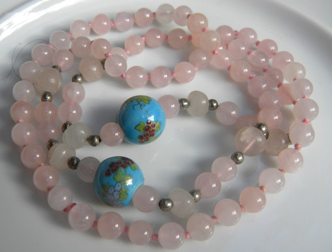 Vintage Chinese Pink Quartz Bead Necklace