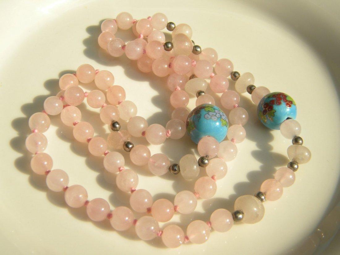 Vintage Chinese Pink Quartz Bead Necklace - 2