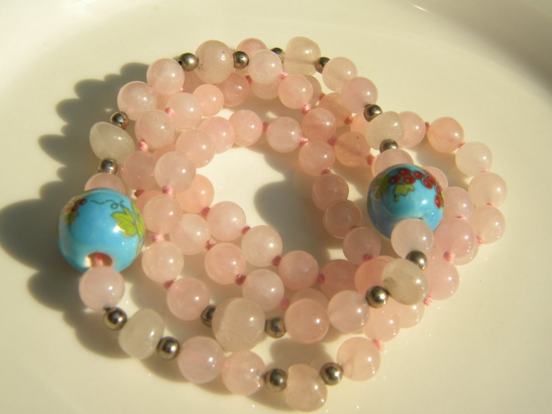 Vintage Chinese Pink Quartz Bead Necklace - 3