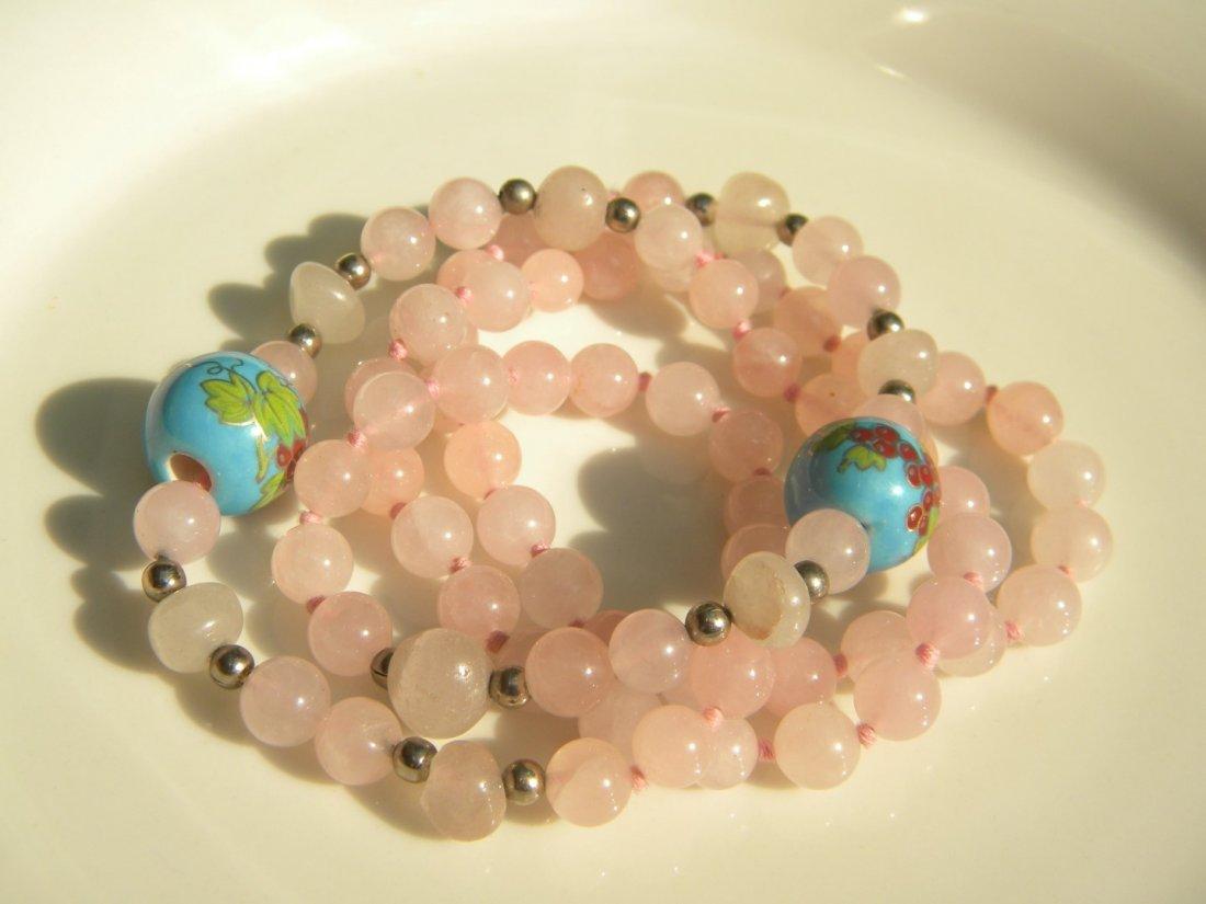 Vintage Chinese Pink Quartz Bead Necklace - 4
