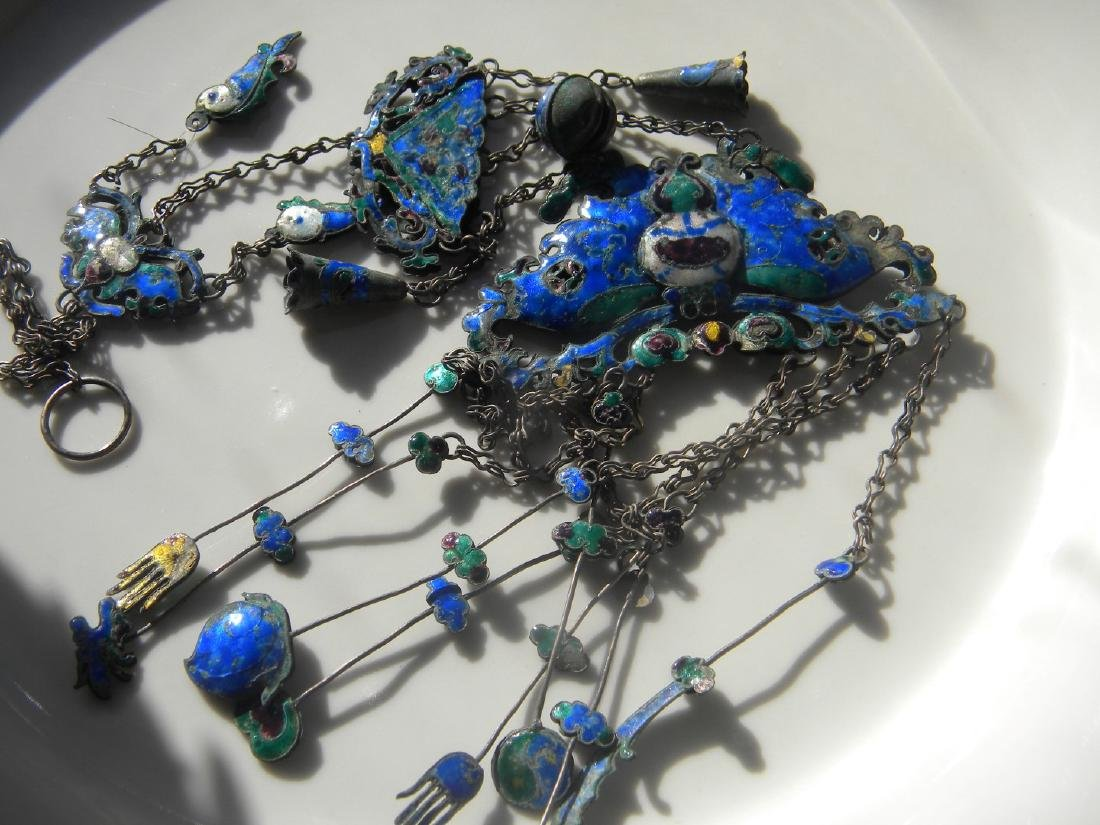 Antique Chinese Enamel Silver Butterfly Chain
